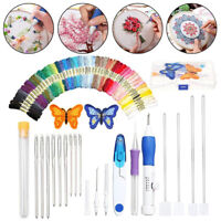 DIY Embroidery Pen Knitting Sewing Craft Tool Kit Punch Needle Set 50 Threads