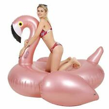75 Inch Giant Pink Flamingo Float Swimming Pool Inflatable Ride-On Rafts + Bag