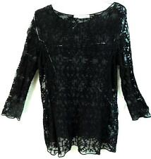 Maurices black tribal see through embroidered mesh long sleeve sexy top 2,2X