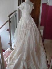 JO ANN HALL ivory silk WEDDING DRESS size UK 10 8 antique look button eyelet