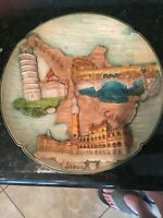 Wooden Hand Painted & Carved Souvenir Plate Wall Hanging Italy, MB245