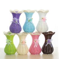 Home & Living Ornament Vase Floral Basket Rattan Woven Vase Artificial Flower