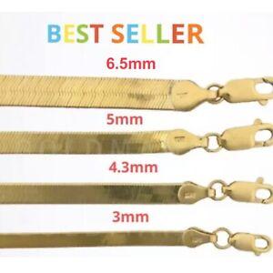 """14K Gold Herringbone Chain Over 925 Necklace 16"""" 18"""" 20"""" 22"""", 24"""", BEST SELLER"""