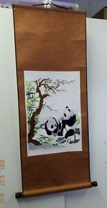Chinese scroll wall hanging picture of embroidered Pandas