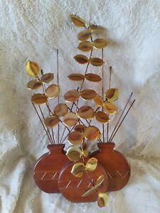 Vintage Brass Copper Wood Wall Hanging Basket Leaves Midwestern Boho Mid-Century