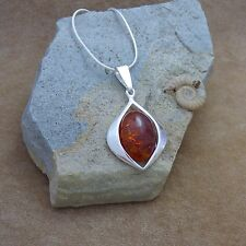 """New 925 Silver & Baltic Cognac Amber Almond Shaped Pendant Necklace 18"""""""