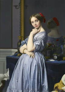 Jean Auguste Dominique Ingres Comtesse d'Haussonville Poster Giclee Canvas Print