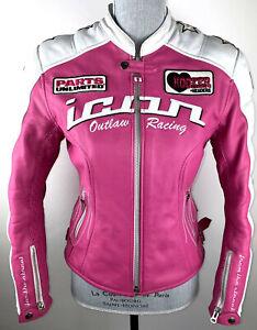 Icon Kitty Jacket Motorcycle Pink White Two Tone Size Small