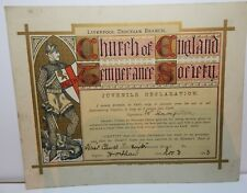 More details for 1903 liverpool church england temperance  juvenile declaration of sobriety cert