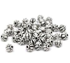 15 Bijoux Perles Intercalaires argenté Ronde à rayure  6 x 6 mm