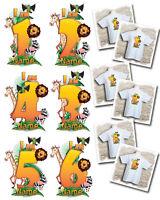 Personalised Kids Jungle animal themed birthday t-shirt - I am 1, 2, 3, 4, 5, 6.