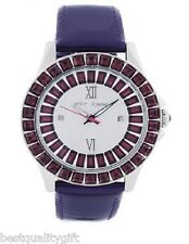 NEW BETSEY JOHNSON PURPLE PATENT LEATHER, SILVER TONE CRYSTAL WATCH-BJ00004-09