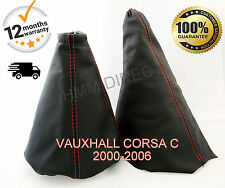VAUXHALL CORSA C 2000-2006 GENUINE LEATHER GEAR & HANDBRAKE GAITER RED STITCH