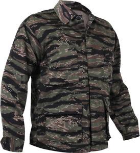 Mens Tiger Stripe Camouflage Military BDU Shirt Tactical Uniform Coat Fatigues