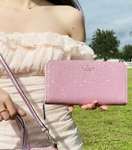 Kate Spade Lola Joeley Large Continental Zip Wallet Rose Pink Glitter
