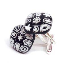 White on Black Square Murano Glass Millefiori Flower & Silver Cufflinks.