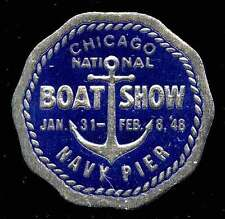 USA Poster Stamp - Chicago - 1948 Boat Show - Die-cut Embossed Foil