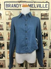 Brandy Melville Sample Piece Blue Denim Button Collar Long Sleeve Top NWT