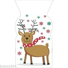 PACK OF 20 CHRISTMAS REINDEER CELLO TREAT BAGS GIFTS SWEETS FAVORS PARTY