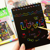 KQ_ Kids Rainbow Scratch Art Kit  Drawing Painting Paper Notebook Children