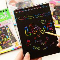 HK- Kids Rainbow Scratch Art Kit Magic Drawing Painting Paper Notebook Children