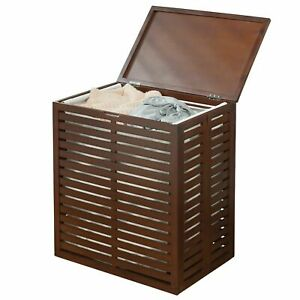 mDesign Bamboo Single Hamper Basket with Removable Liner - Espresso Bamboo
