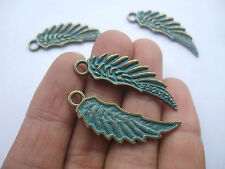 10 Antique Greek Bronze Feather Angel Wing Bird Charms Pendants Beads 39mm Wicca