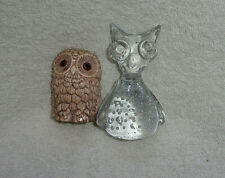 Two Owl Figurines, One Glass
