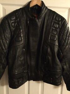 Mens Large Bike Leather Jacket Black Trike Motorbike