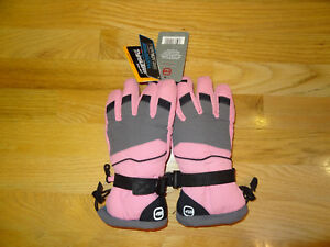 New Free Country Girls Ski Winter Gloves Pink Grey L/XL 3M Thinsulate Waterproof
