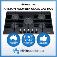 Ariston 75cm Black Glass Direct Flame Gas Cooktop (Carton Damaged) LPG ONLY