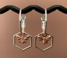 SILVER PLATED HOOP EARRINGS WITH HEXAGON HONEYCOMB & ROSE GOLD BEE HANDMADE