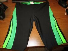Speedo polyester competition jammer swim suit black green size 32