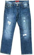 Mens HUGO BOSS Jeans 'HUGO 677' Blue Destroy Red Label Size W36 L32 RRP $399