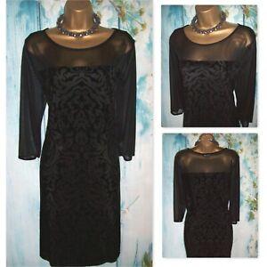 LADIES WALLIS DRESS SIZE 18, Black velvet stretch devore mesh Occasion Dress