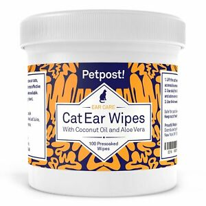 Petpost   Cat Ear Wipes - 100 Ultra Soft Cotton Pads in Coconut Oil Solution