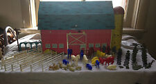 VTG Sunnyfield Farms Ohio Mid Cent Lithograph Tin Metal Farm Set Toy