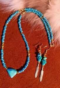 Turquoise Nugget Necklace Set with Beautiful Gold Accents.