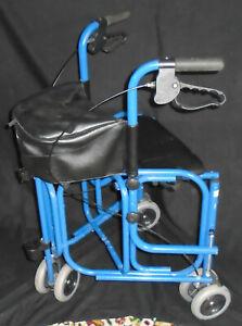 Uniscan Triumph Rollator Mobility Blue Walker Walking Frame Trolley Support