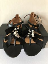 "ANN TAYLOR ""PIPER"" EMBELLISHED SANDAL BLACK LEATHER PEARLS RHINESTONES ...7.5M!"