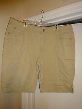 JMS Just My Size Womans Plus Size 24W Tan Shorts Butterflies Embroidered on Rear