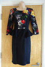 Goddiva peplum black cocktail/christmas/party dress with floral pattern size 8