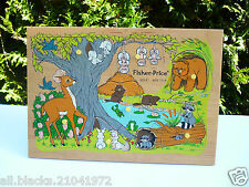 ♥ Jouet Puzzle En Bois Fisher Price Vintage Authentique