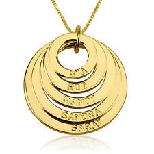 Mom Pendant Engraved Mother Necklace 24k Gold Plated 5 Discs Chain - oNecklace ®