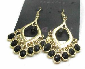 Free Shipping Fashion Jewelry Cool Black Gemstone Dangle Earring H2033