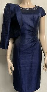 Precis Petite navy blue formal occasion fitted wiggle pencil dress suit 8 & 10