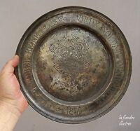 flandre - plat étain dédicatoire société du vieux soldat - marquette  daté 1859