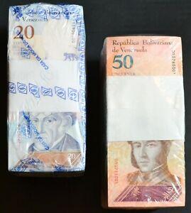 2018 Venezuela $20 & $50 Bolivares UNC 2 Bricks 2000 Pcs Total New SKU320