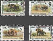 Timbres Eléphants Cambodge 1399/1402 o lot 7836