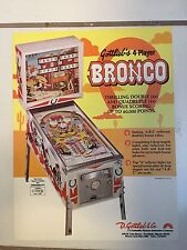 """""""BRONCO"""" BY GOTTLIEB 1970'S  PINBALL PROMO  BROCHURE-""""MINT"""" IN PLASTIC COVER"""